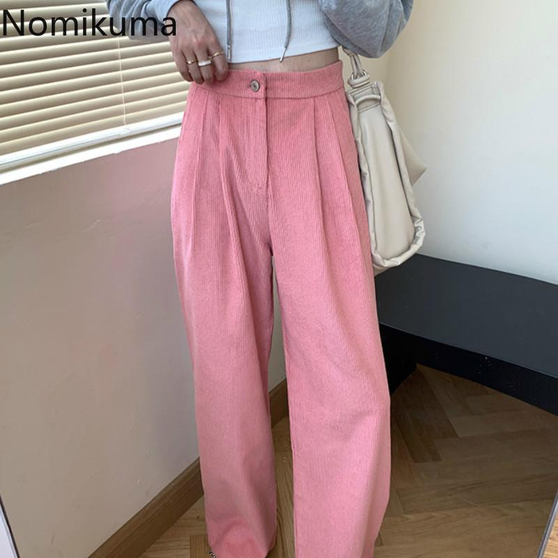 Frauenhose Capris Nomikuma Corduroy Ganzkörperansicht Frauen Mode Hohe Taille Gerade Lose Breite Beinhose Lässig Alles Spiel Pantalones