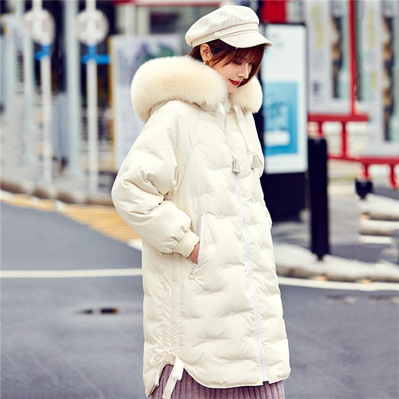 Большой реальный меховой воротник зимняя куртка женщин вниз пальто толщиной теплый 90% белая утка вниз по парку пальто с капюшоном длинная куртка 20110