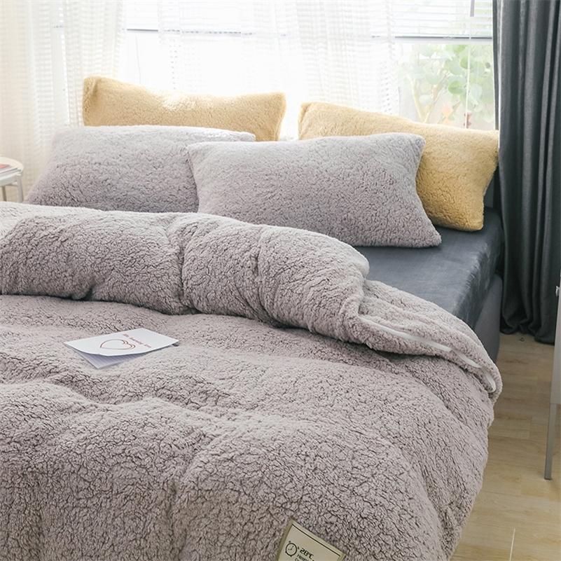 Роскошный толстый флис одеяла чехол одинарный queen king размер зима теплая кровать одеяло крышка наволочка плюшевые постельное белье постельное белье set lj201128