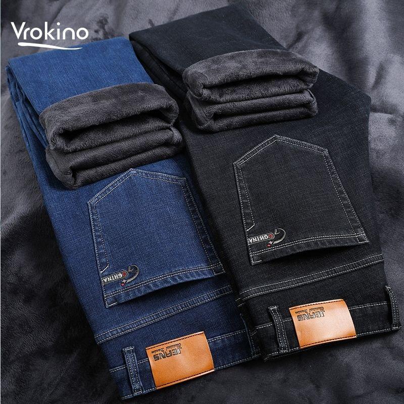 Большой размер 42 44 46 зимняя мужская мода утолщение флис теплые джинсы тонкие стрейч высокое качество теплые джинсы 201105