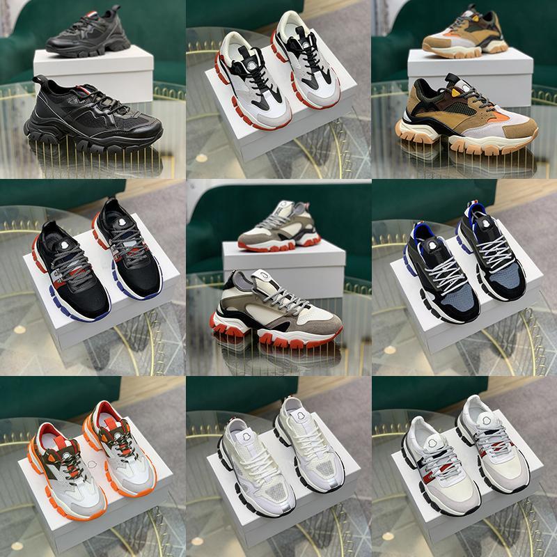 Moncler 5a высокого качества итальянский дизайнер Mens Hi кроссовки Италия Тройной кожаный Canvas Платформа Тренеры Черный Белый Повседневный плоские шнурки ботинок