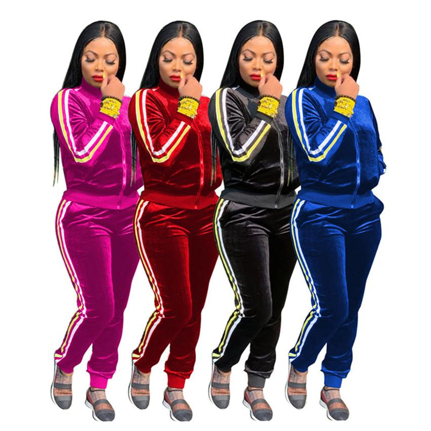 Femmes 2pcs mis Tenues polaire Vêtements veste couleur épaisse solide s-2XL hoodies Legging Survêtement Pantalon de jogging sport DHL 4080