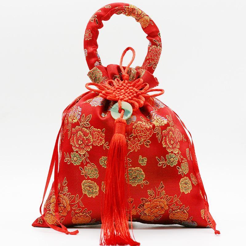 10 шт. Китайский узел Джейд шелковые атласные подарочные пакеты с ручкой Drawstring Подарочная сумка Свадьба Вечеринка Конфеты шоколада сумки кошельков
