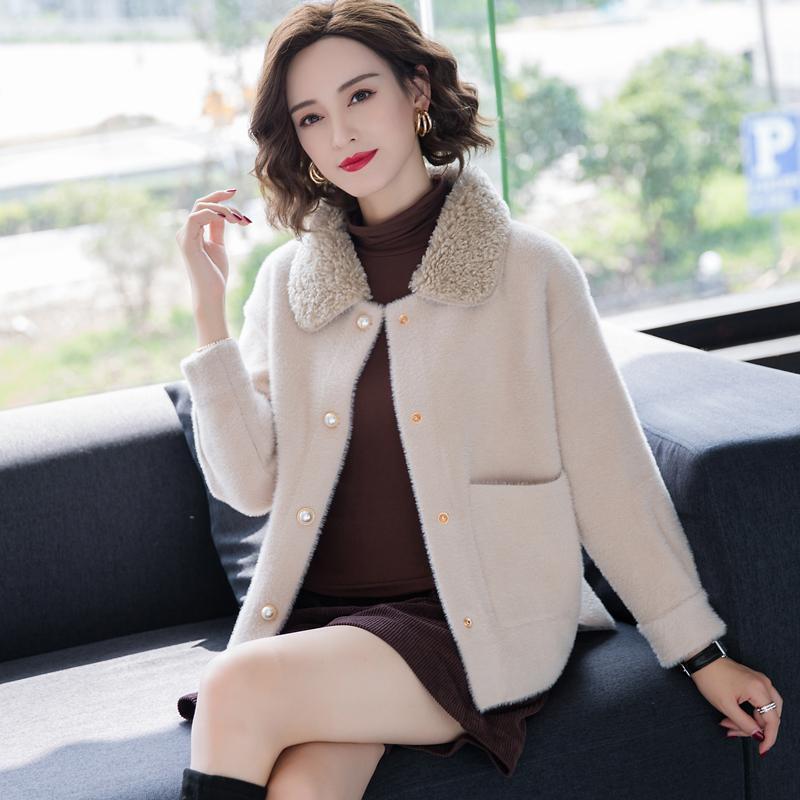 Kadın 2021 Kış Yeni Moda İmitasyon Vizon Kadife Ceket Kadın Örme Hırka Ceketler Bayanlar Kısa Gevşek Sıcak Dış Giyim W558