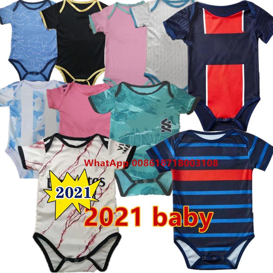 Baby Jersey Novo 2021 Jersey de Futebol Bebê 6-18 Meses Camisa de futebol Fato de rastejamento