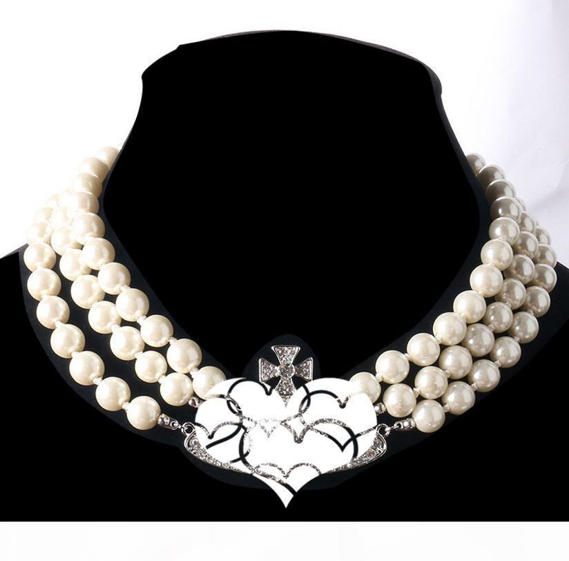 2020 Nouveau produit Collier en orbite de perles 3 couches Dames strass Satellite Planète Cadet Cadeau Haute Qualité