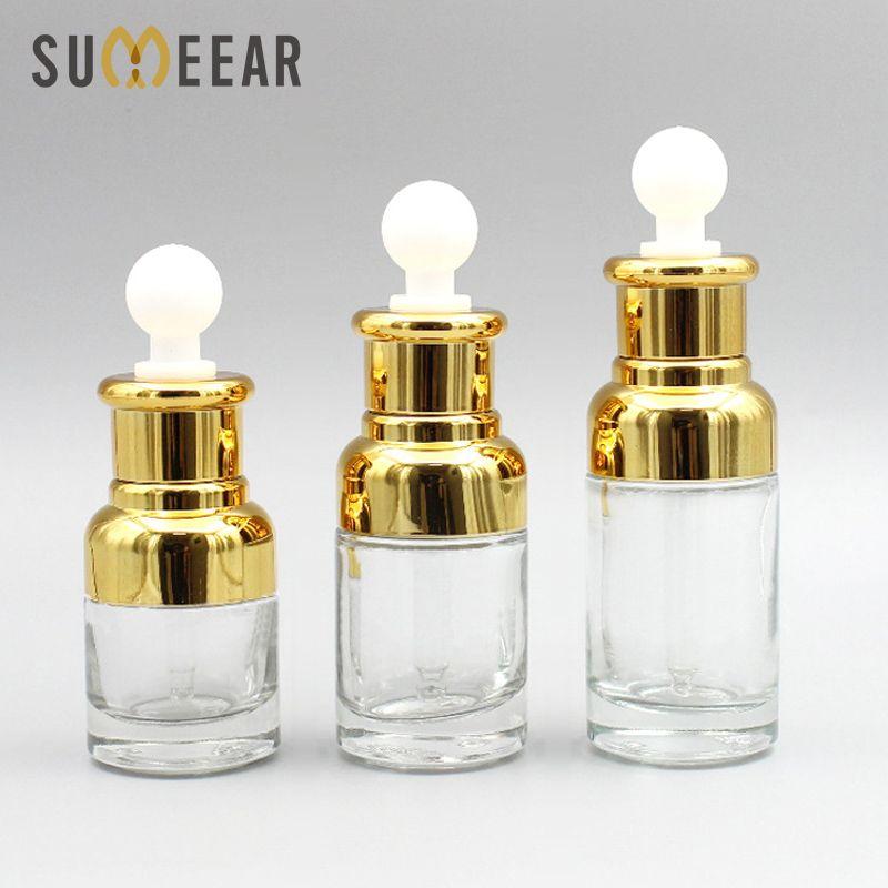 10 peças / lote 20ml 30ml 40ml gotas de óleo essencial frasco de frasco de frasco de perfume douroucollar vazio perfume cosmético