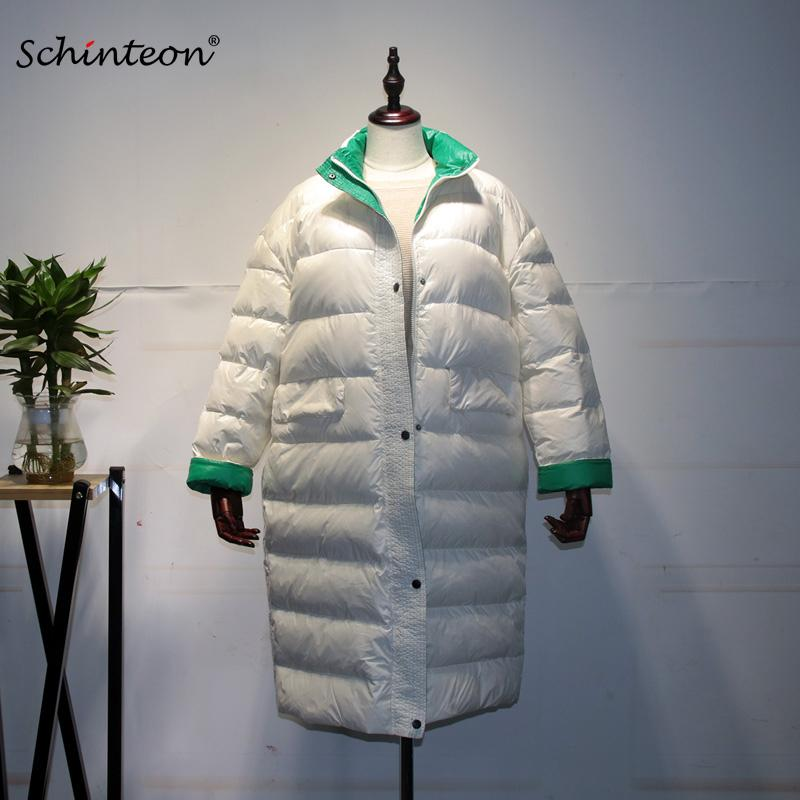 Yeni Schinteon Kore Tarzı Aşağı Ceket Gevşek Kış Sıcak Uzun Dış Giyim Beyaz Ördek Aşağı Ceket Aşırı Boyutu Kadın Su Geçirmez 201023