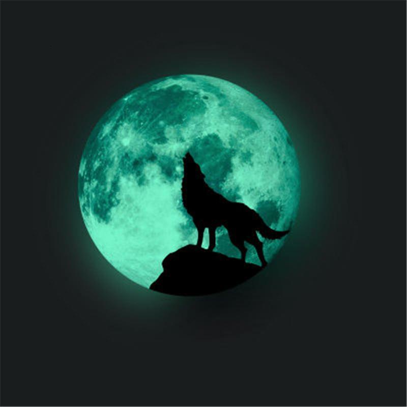 no brilho da lua escura para Decoração Kids Room Dia das Bruxas Adesivos Luminous Lobo Decalque Quarto Decalque em parede Wfxp