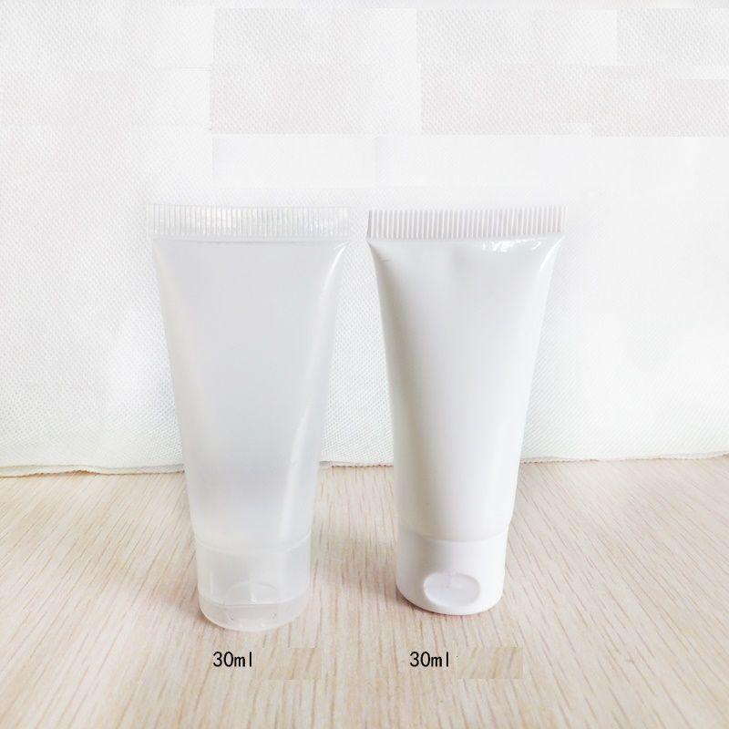 50PCS 30мл 30г Пластиковые Белый Прозрачный Мягкая трубка Пустой косметический крем для лица Шампунь умывания Travel Pack