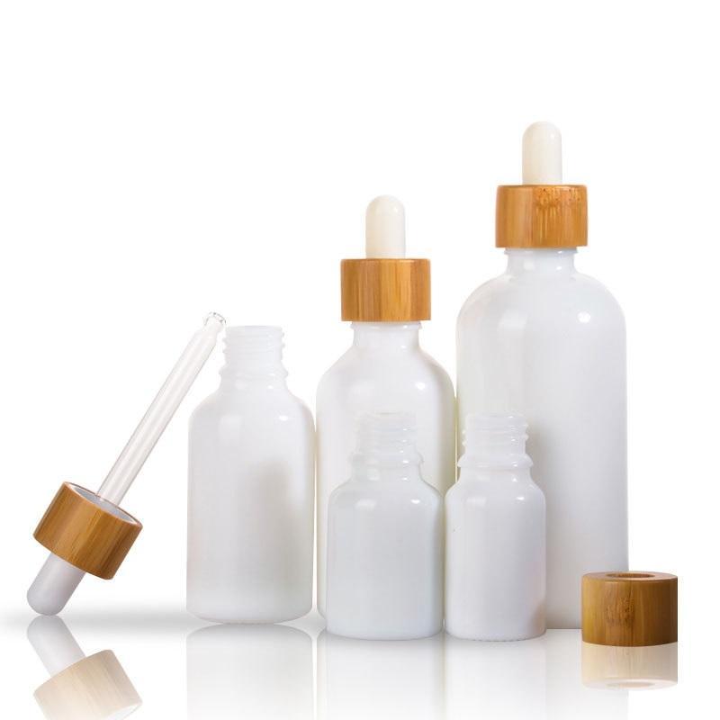 Blanc Porcelaine Vide Essentielles bouteilles de parfum Huile e liquide Bouteilles réactif Pipette Dropper aromathérapie 5ml 100ml Bamboo Cap DWF2397