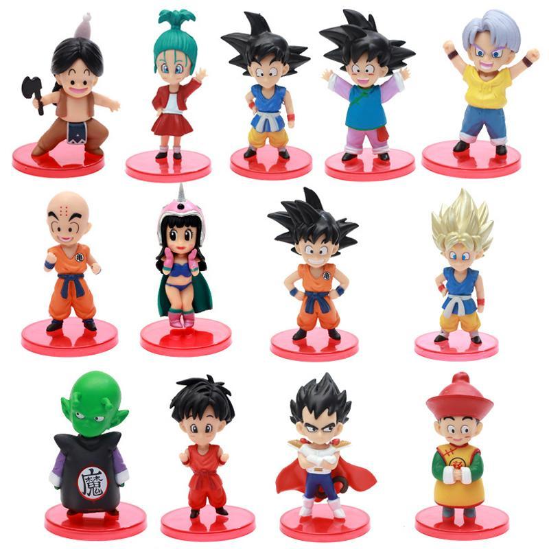 13 pz / set anime dbz figure azione figlio Gokou Gohan Gotten Trunks Bulma Pan Chichi Piccolo PVC figura modello giocattoli regalo 201202