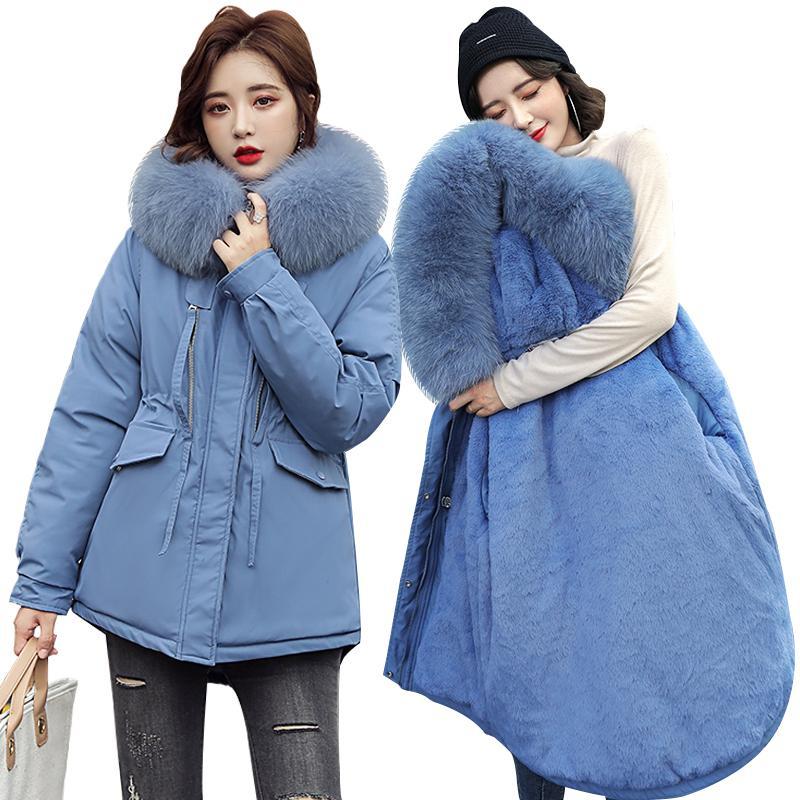 Invierno Mujeres Parkas New Winter -30 grados Espesado Cálido Parkas Coat Fashion Piel Collar con capucha Chaqueta de invierno Parkas Mujeres 201110