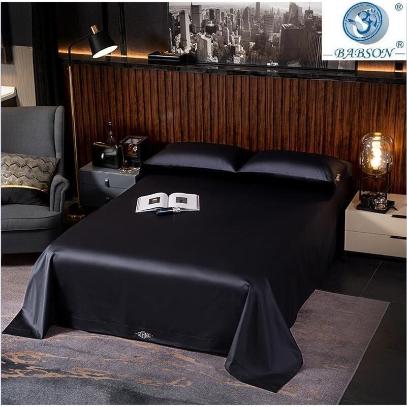 Черные египетские хлопчатобумажные постельные принадлежности Queen king-size Вышивка кровать Доверное покрытие Крышки кровать / Установленные листовые льняные Установить отель Кровать набор LJ201128