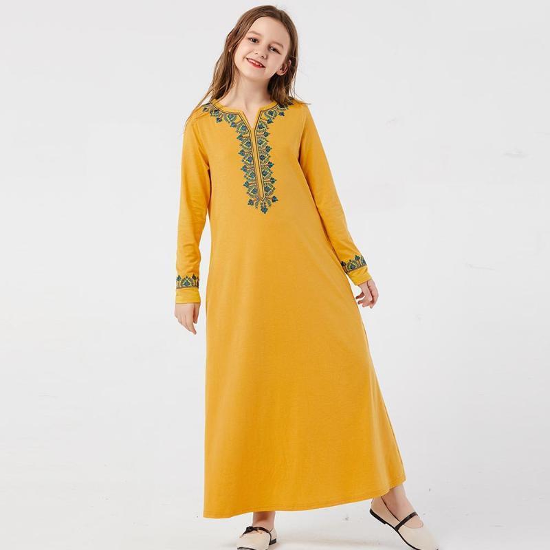 Ethnische kleidung muslim mädchen kleid schweiß frühling kinder marokkanisch abaya kleider kinder islamisch dubai a-line elbise vestido kaftan gelb