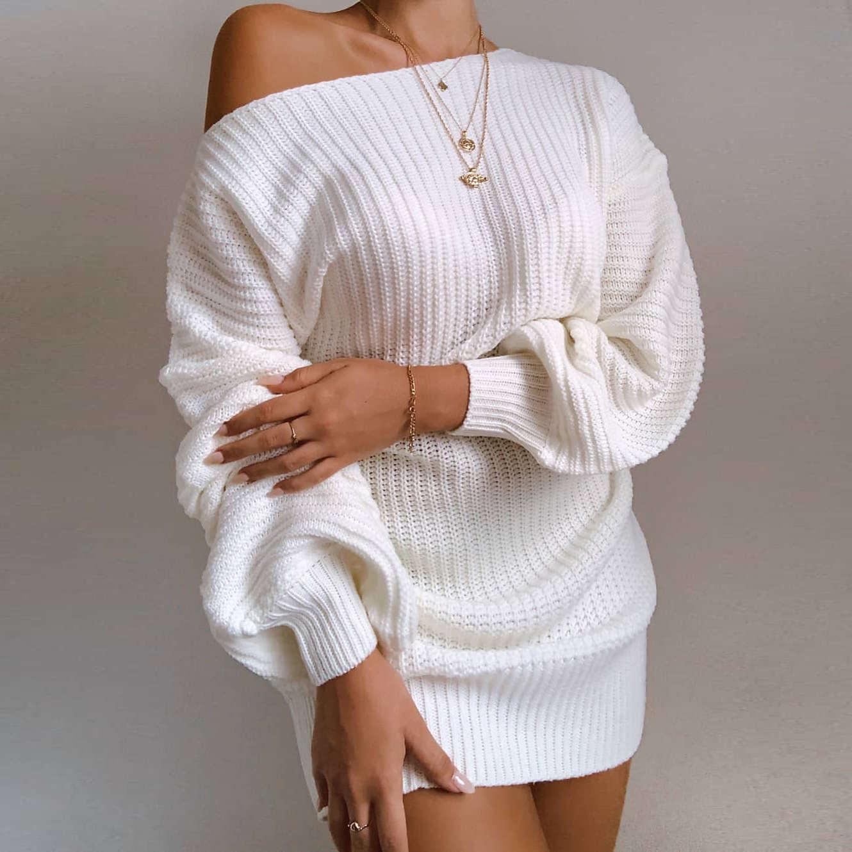 Sonbahar ve Kış Yün Blend Triko Elbise Yeni Moda Bayan Streetwear Elbiseler Giyim Günlük Kadınlar Seksi Elbise