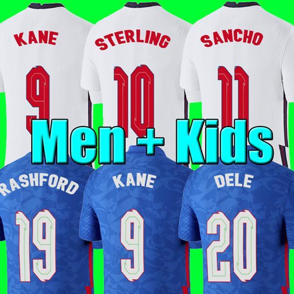 Maglia da calcio INGHILTERRA di qualità thailandese Euro cup 2020 KANE STERLING RASHFORD SANCHO 20 21 magliette da calcio uomo + kit per bambini set uniforme