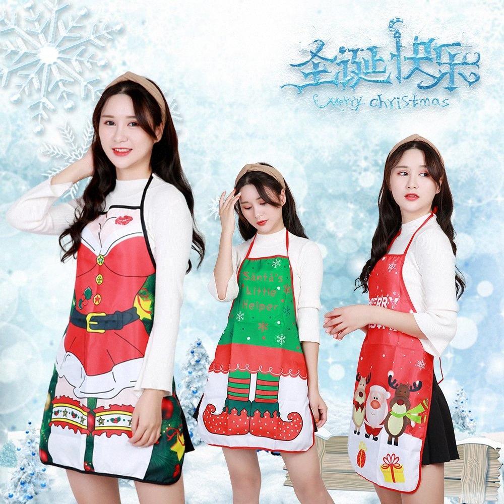 Nordic Style Grembiule Albero di Natale dei cervi della neve di stampa di Natale Grembiule per la donna di natale decorazioni Cena cottura Accessori gLGU #