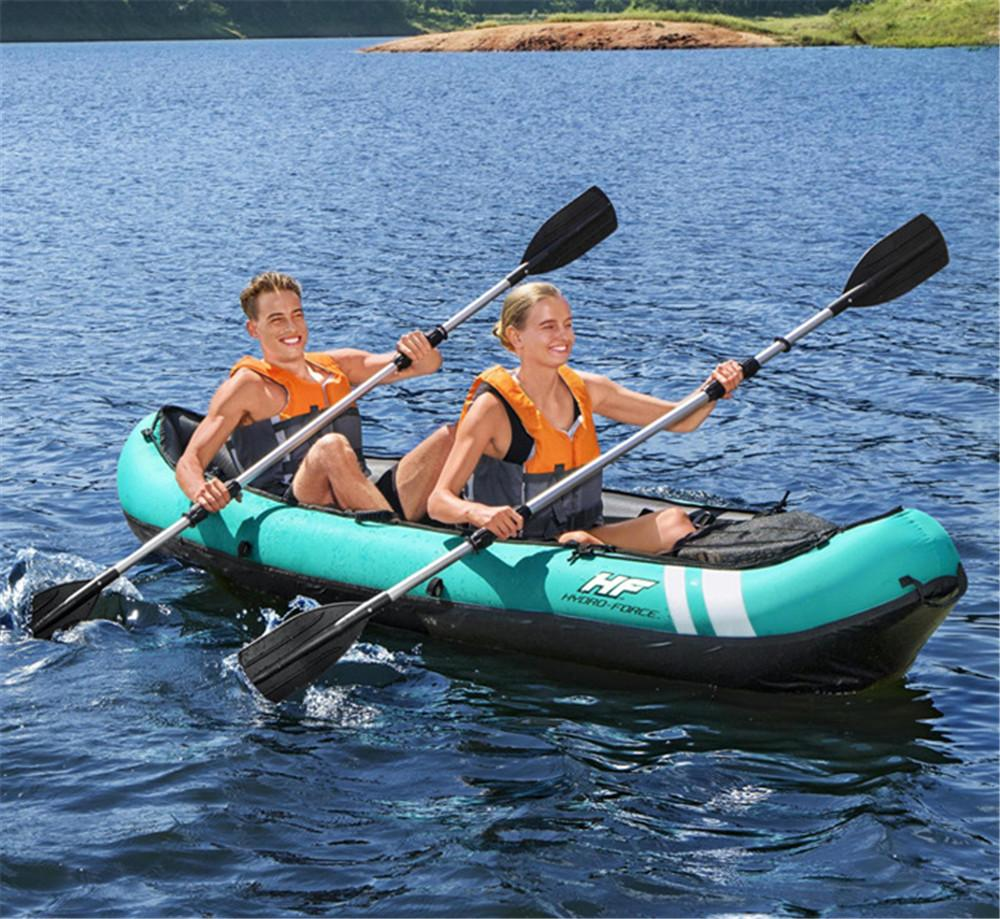 330*94cm Surfboard Professional Inflatable Kayak drop stitch 2-Person Fishing boat Set with 2 pcs Aluminum Oars and High Output Air Pump