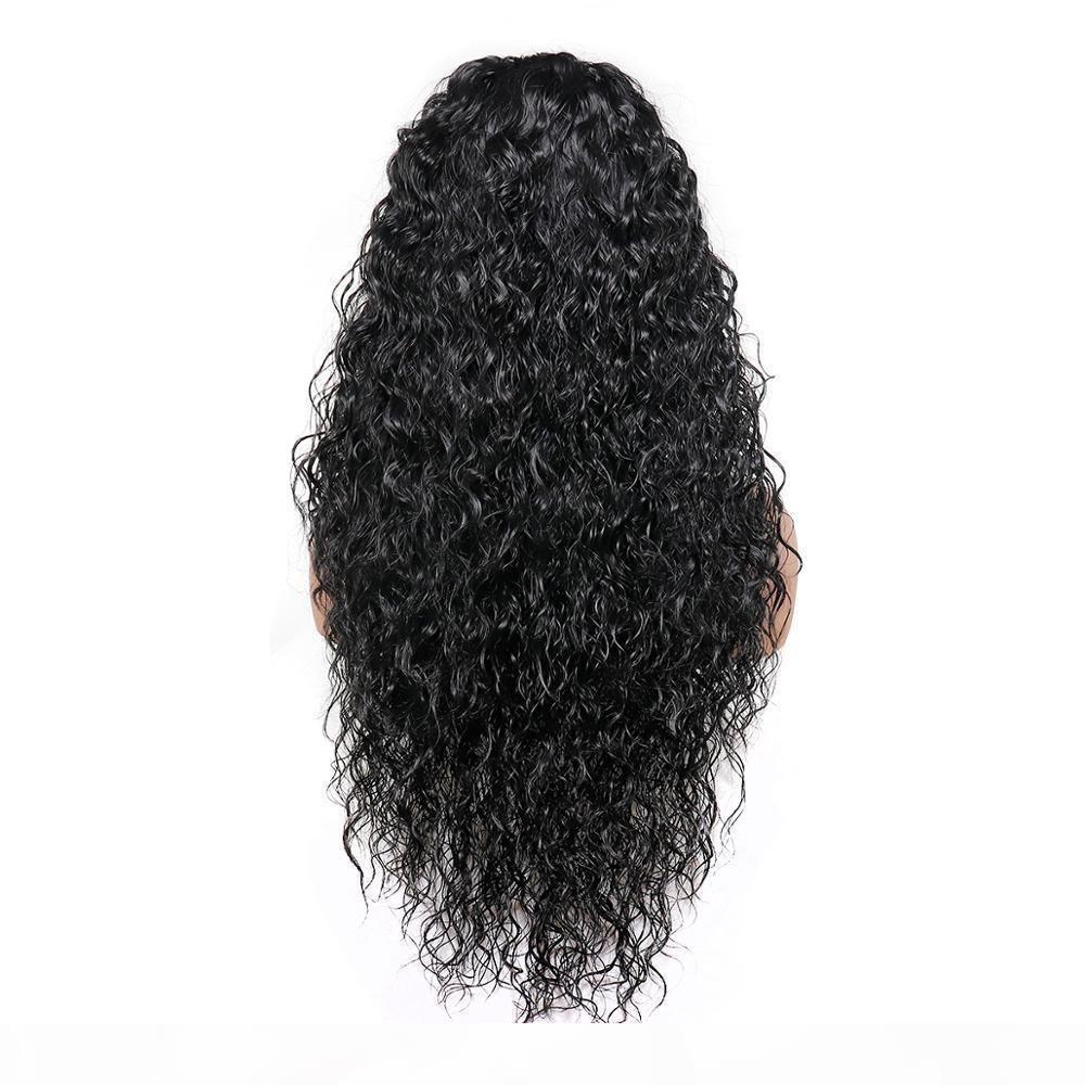 Fibra resistente sintético longo rendas frente perucas de cabelo preto solto peruca 26 Inch Cosplay Pré arrancada de calor com cabelo do bebê