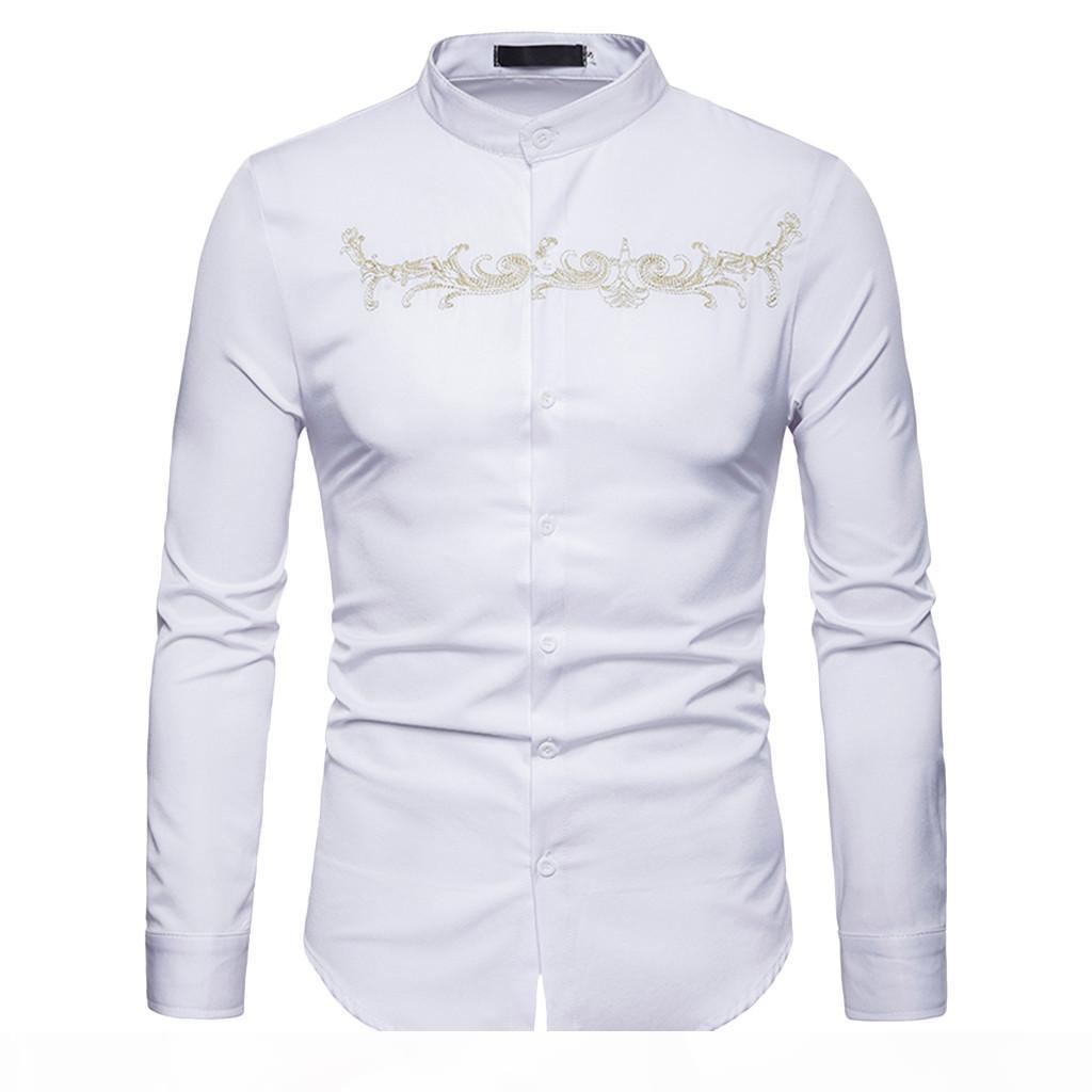 YOUYEDIAN 2020 Men's Autumn Winter Casual Gold Embroidery Long Sleeve Shirt Top Blouse New arrival