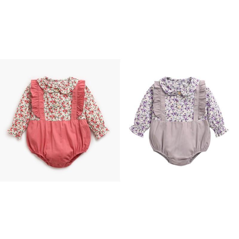 Ins New Baby Girl Bambini arrampicata Pagliaccetto manica lunga O-Collo Full Flower Patchwork Parsper 100% Cotton Girl Girl Pagliaccetti 0-2T 506 K2
