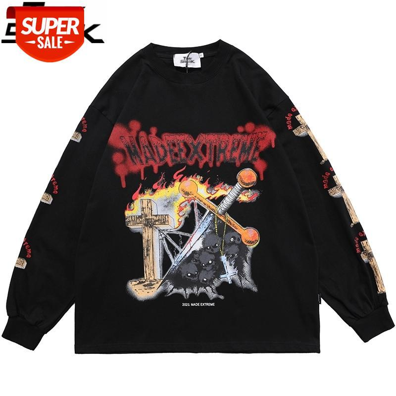 Hip Hop Harajuku Boy T Gömlek Streetwear Çapraz Yangın Alev Kafatası Baskılı T-shirt 2021 Erkekler Bahar Uzun Kollu Tshirt Siyah # SR4Z