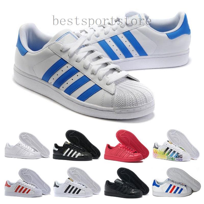Adidas super star starsuper 2019 mujeres baratas Superstar blanca holograma iridiscente junior orgullo zapatillas Super Star de los hombres zapatos de cuero ocasionales 36-44 DS2