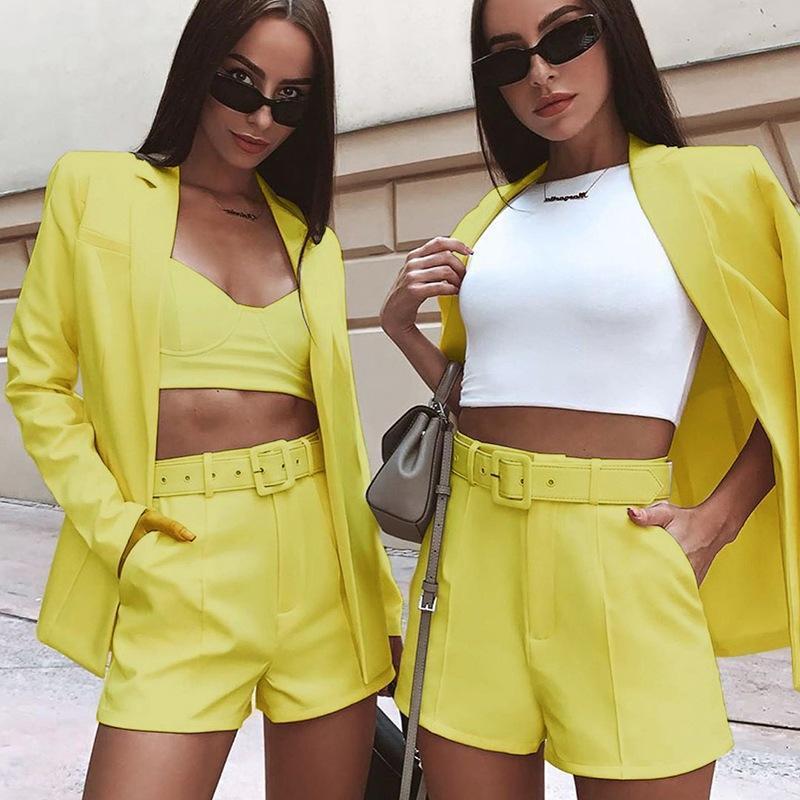 Jaquetas femininas woven terno jaqueta shorts conjunto mulheres moda casual casaco