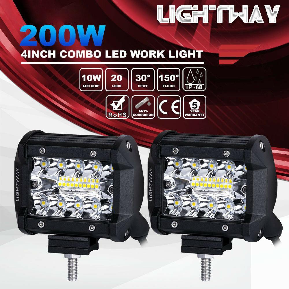 2pcs 4inch 200W CREE LED Work Light Bar baccelli incasso Combo guida lampada 12V 6000K 20000LM per la guida offroad dell'automobile della barca