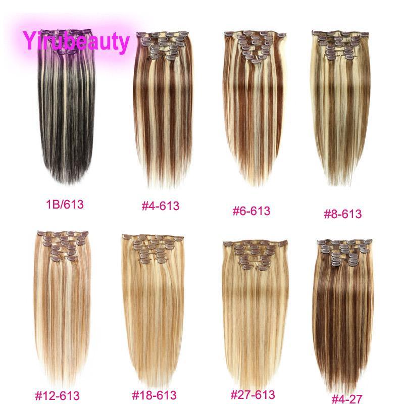 Malásia 100% cabelo humano reto 1b / 613 4/613 # 6/613 # 27/613 clipes em extensões de cabelo 14-24inch clip-on produtos piano cor