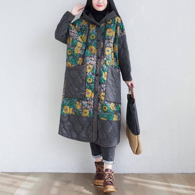 Gran tamaño largo algodón acolchado mujer suelta estampado floral estancas estilo chino invierno punk streetwear holgado grueso capucha abrigo