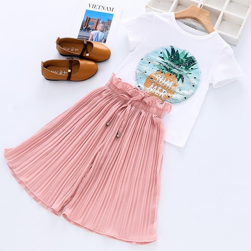 Kinderkleidung Sommer Muster Baby Mädchen Kleidung Sets T-Shirt + Hosen Kinder Kleidung Trainingsanzug Anzug für Kleinkind Mädchen 8 9 10 Jahre 201126