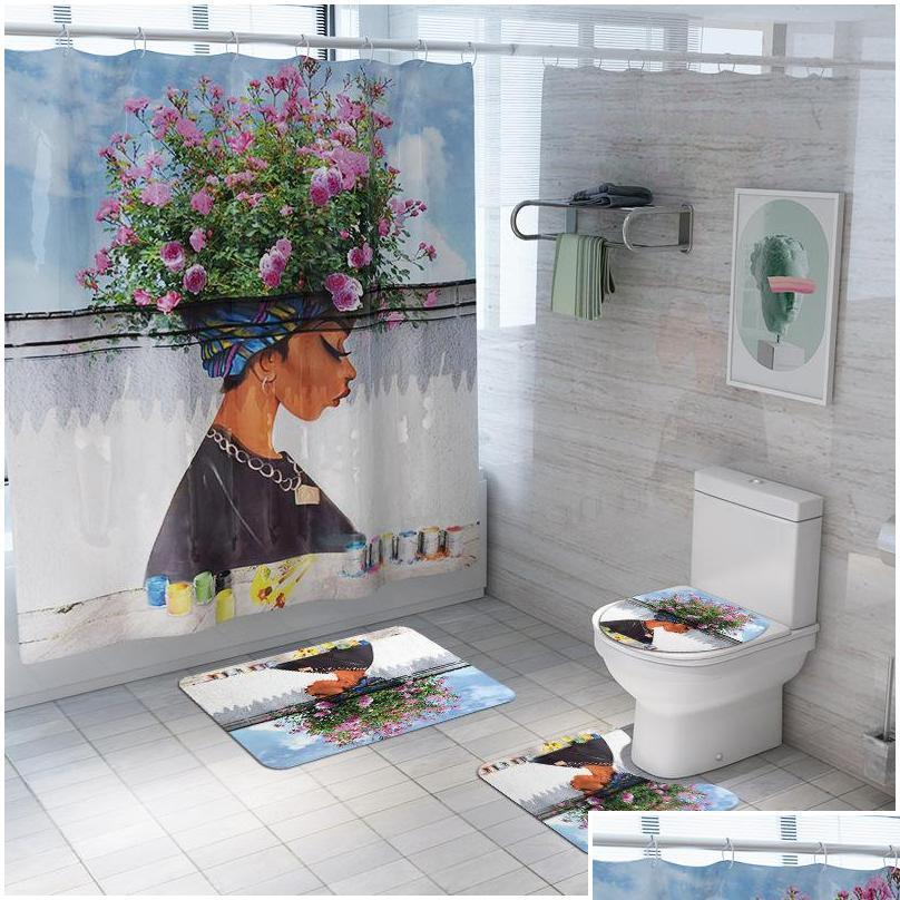 African American Women Bath Mat Shower Curtain Bath Rug Sets Bathroom Carpet Toilet Mat Set Non S qylsno hotstore2010