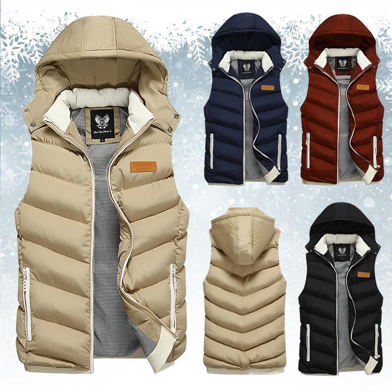 Moda Masculina Inverno Coletes homens Outono Quente com capuz para baixo Cotton Colete Masculino Casual Brasão casacos sem manga Magro Vest Man 201009