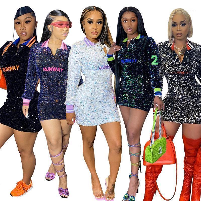 Party Kleider plus Größe S- 5XL Bunte Pailletten Sexy Maxi Kleid Frauen Clubwear 2021 Langarm Lose Frau Großhandel Drop1