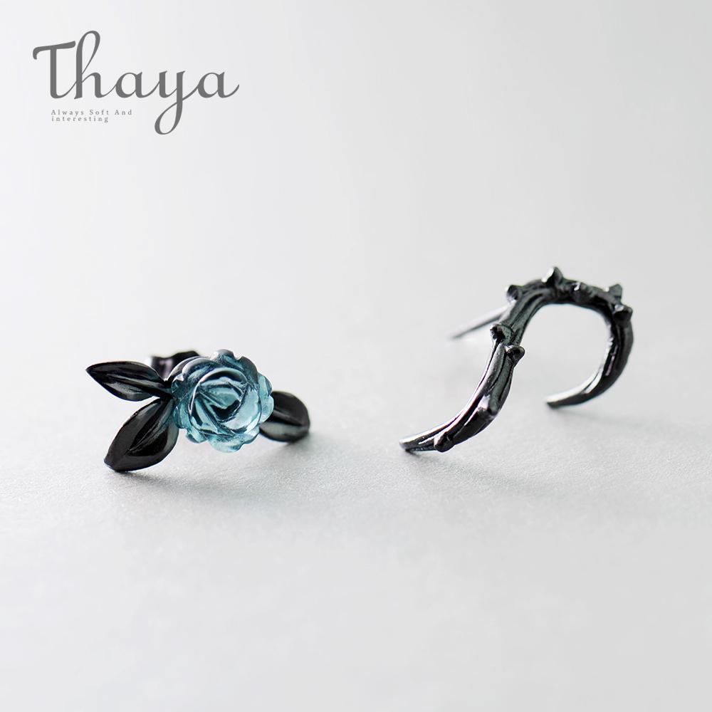 Тайя S925 Silver Thorn Blue Crystal Rose Design Черный Стад серьги для женщин Асимметрия цветок серьги женщина подарка ювелирных изделий 201112