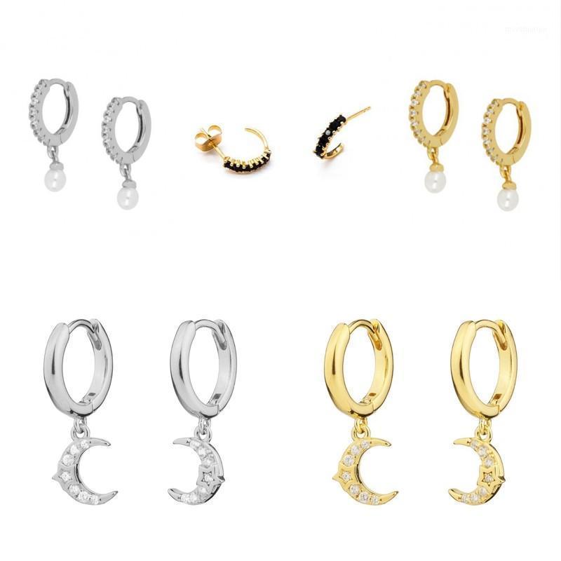Серьги стерлингового серебра 925 для женщин Золотой Серебро Маленький обруч Серьги Girl Ear Cons Searing Zircon Роскошная Bling Mune Star1