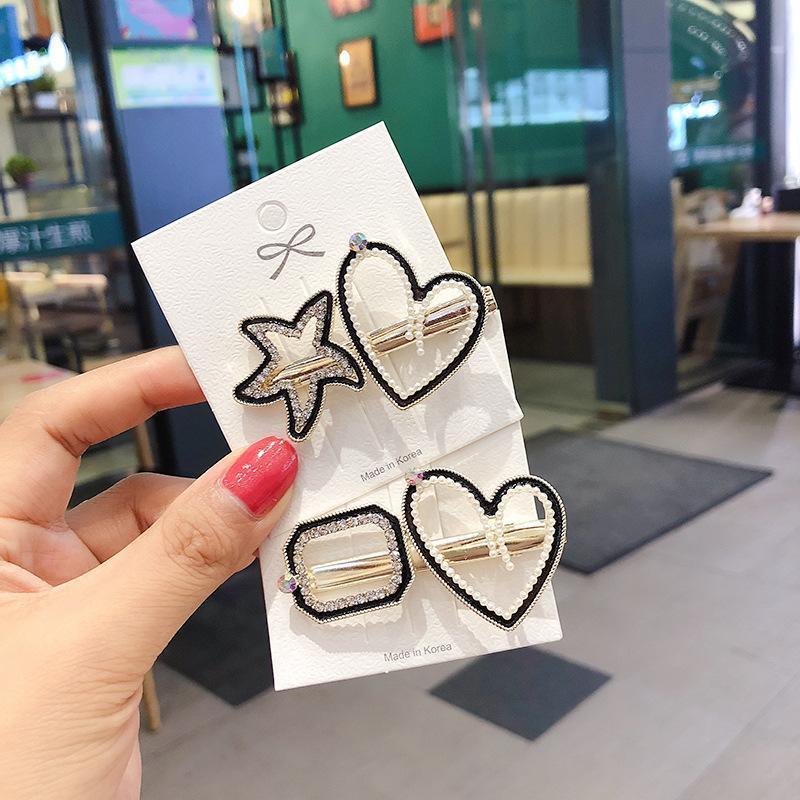 Coreano criativo simples Pedrinhas Imitação Pérola ocos amor Star Fashion Mulheres Hairpin menina Duckbill Clipe Acessórios de cabelo