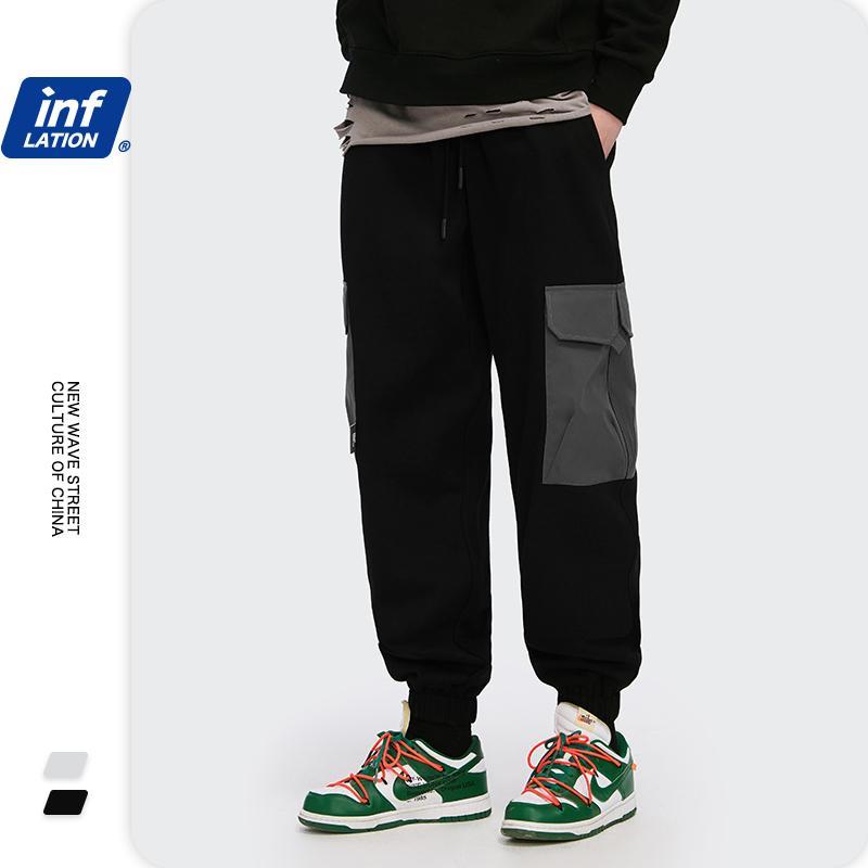 INFLAZIONE Men Sweatpants 2020 Nuovo Pocket Patchwork Hip Hop Pant Nero Sweatpant donna Baggy Sweatpants Per Ragazzo Uomo Joggers 3261W C1011