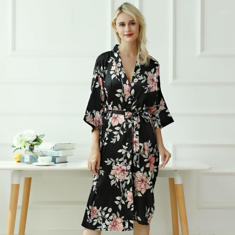 Femmes Satin Satenwear Lâche Lingerie Intime Lingerie Silky Silky Robe Casual Bridal Party Gift Kimono Robe Sexy Homewear Nightgown1