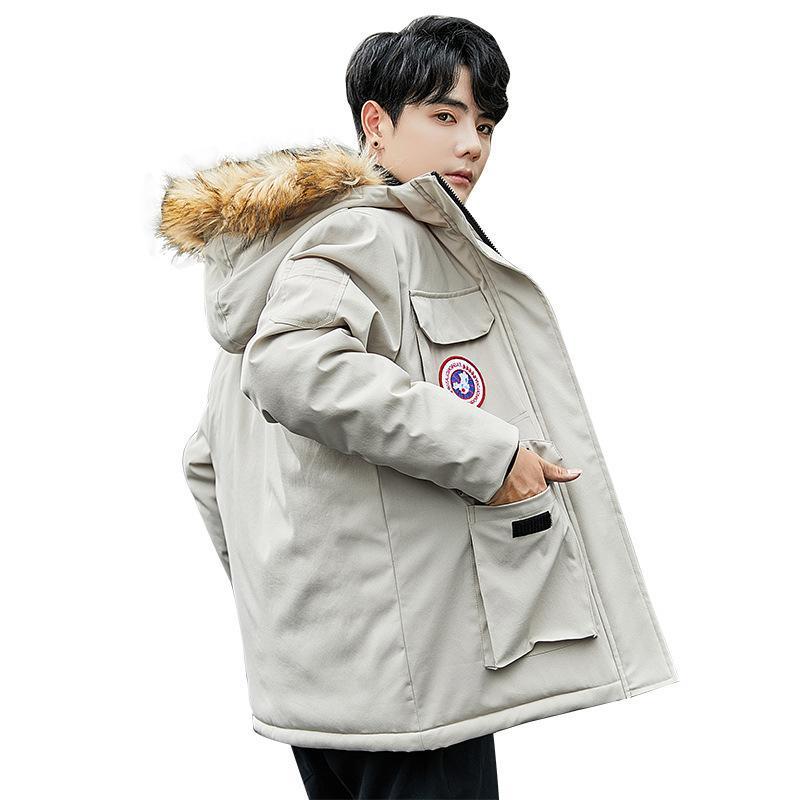 Зимняя куртка 90% вниз мужские мода густые теплые парки мех белые утки слов вскользь человек водонепроницаемый вниз куртки