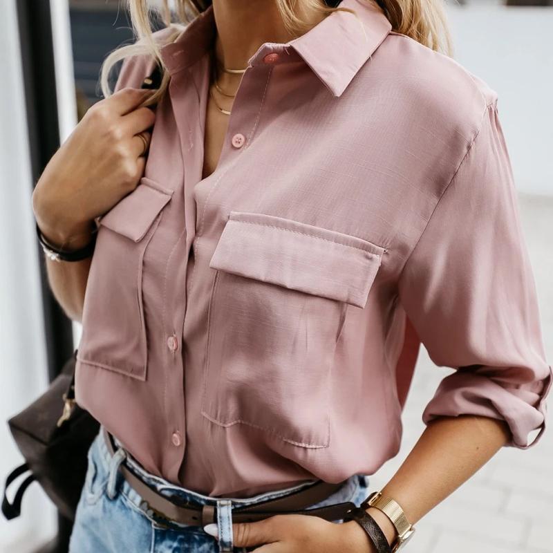 Rosa de las mujeres de la blusa ocasional da vuelta-abajo de manga larga individuales botones bolsillos de la camisa de las señoras elegante simple sólido suelto Streetwear otoño