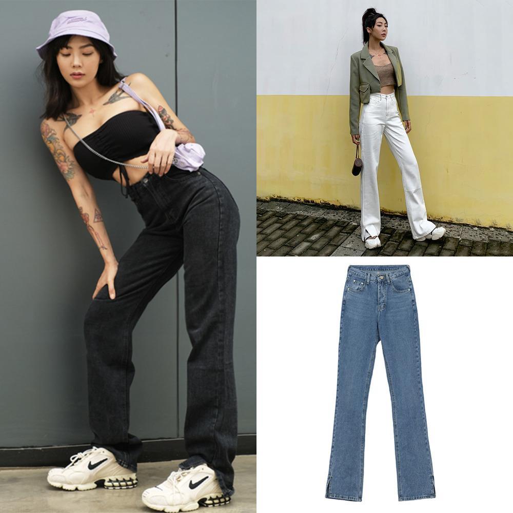 Jeans da donna Gamba dritta Mamma Jeans Jeans BAGGY HIGH Vita Pantaloni dritti Donne 2020 Fashion Casual Sciolto Pantaloni non definiti W1222