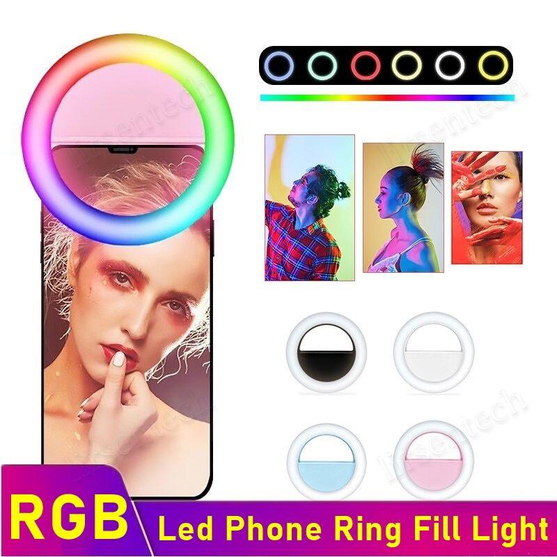 RGB Universal LED Anillo Selfie Light USB Recargable Suplementario Cámara de iluminación Fotografía AAA Batería para teléfonos móviles inteligentes Envío gratis