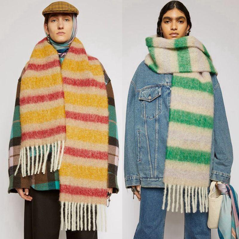 2020 YENİ Lady Kış Sonbahar Uzun Eşarp Düşünür Sıcak Kadın Şal Çizgili Eşarp Kadınlar Katı Renk Kaşmir Ekose Eşarplar