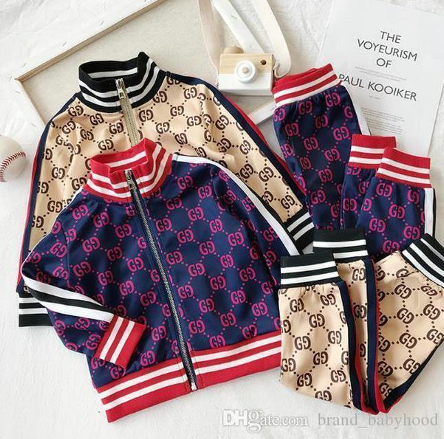 2021 Enfants Designer Vêtements Ensembles de vêtements neufs imprimés de luxe Tracksuits Lettre de la mode Vestes de mode + Joggers Casual Sports Style Sweatshirt Garçons Filles A02