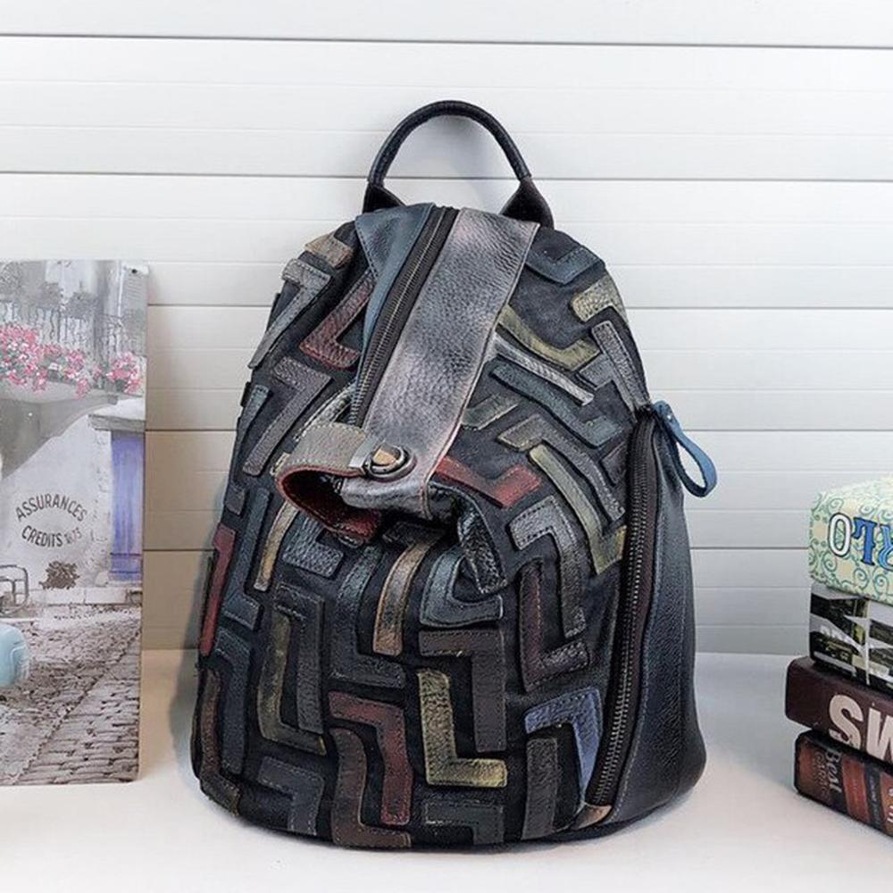 Anti-roubo de couro genuíno Backpack Vintage Mulheres Retro Chic Patchwork Diário Mochila Feminino Natural Feminino Mochileiro