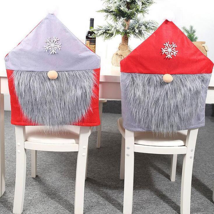 Weihnachts Hussen Weihnachtsmann Abdeckung Dinner Stuhl zurück Abdeckungen Stühle Cap Weihnachten Startseite Bankett Hochzeit Weihnachtsdeko KKA1426