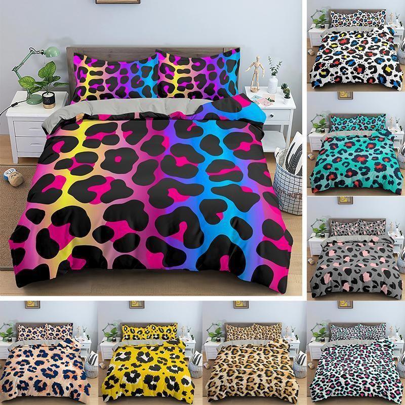 Literie léopard Ensemble Literie Soft Soft Twill Bohemian Print Couverture de couette avec taies d'oreiller 2 / 3pcs Bed Bedlinen1